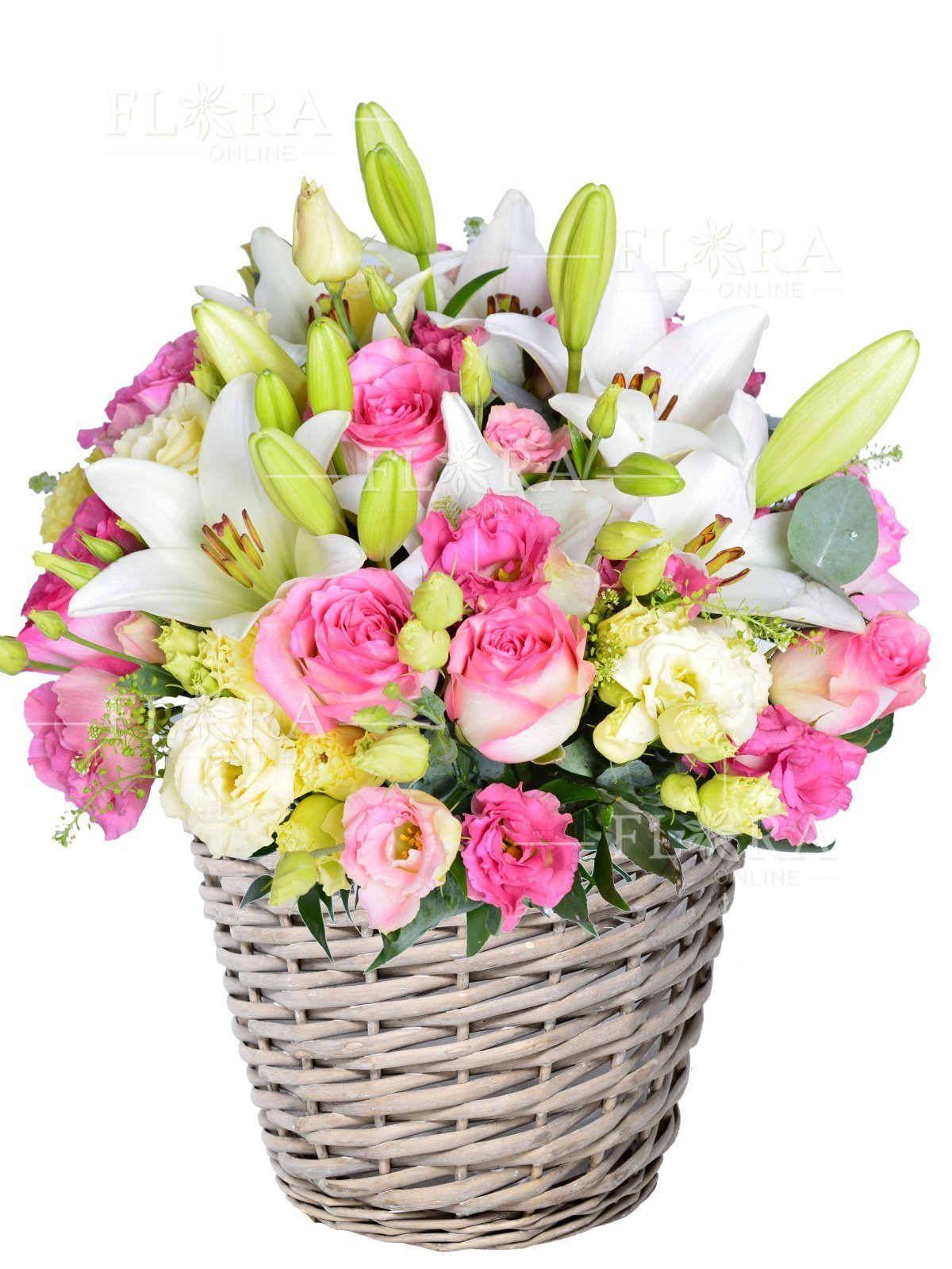 Flower basket coral roses lilies and mixed bouguet flora online discount izmirmasajfo