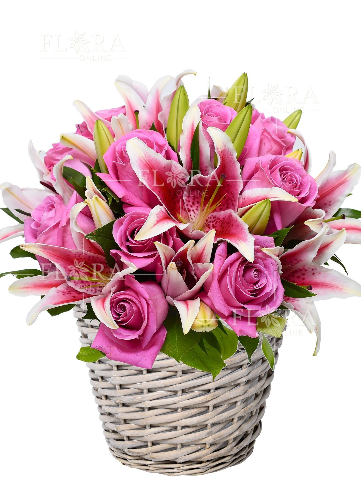 Flower Basket Amy Roses And Lilies Flora Online